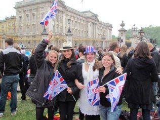 My roommates and I waiting for the royal couple!
